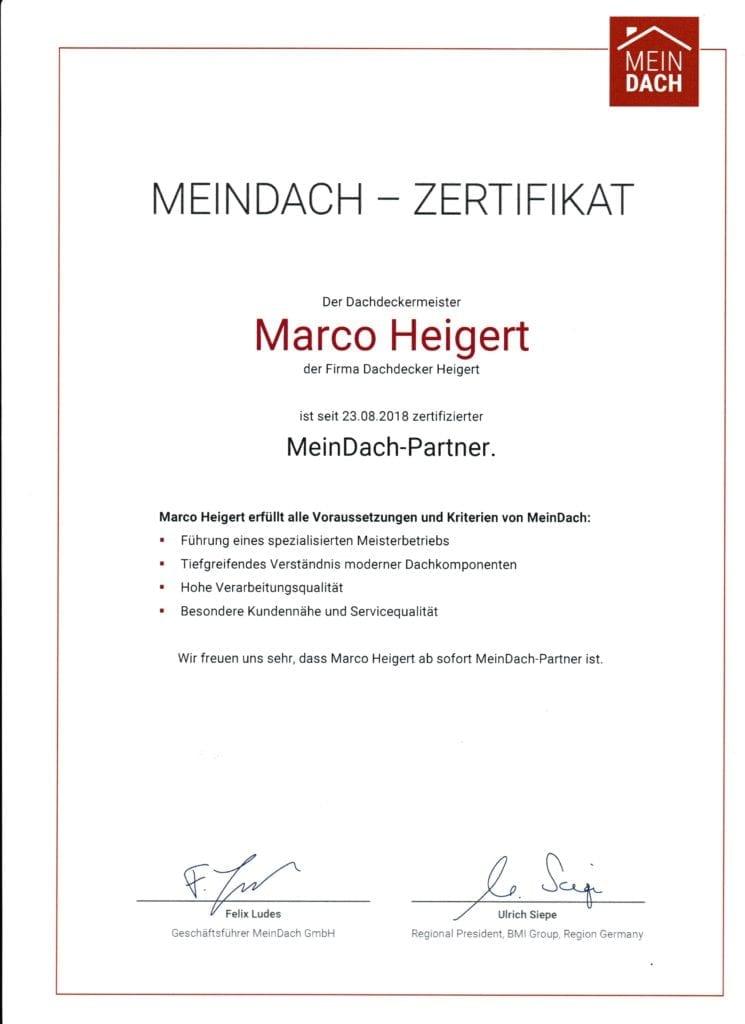 MeinDach Zertifikat