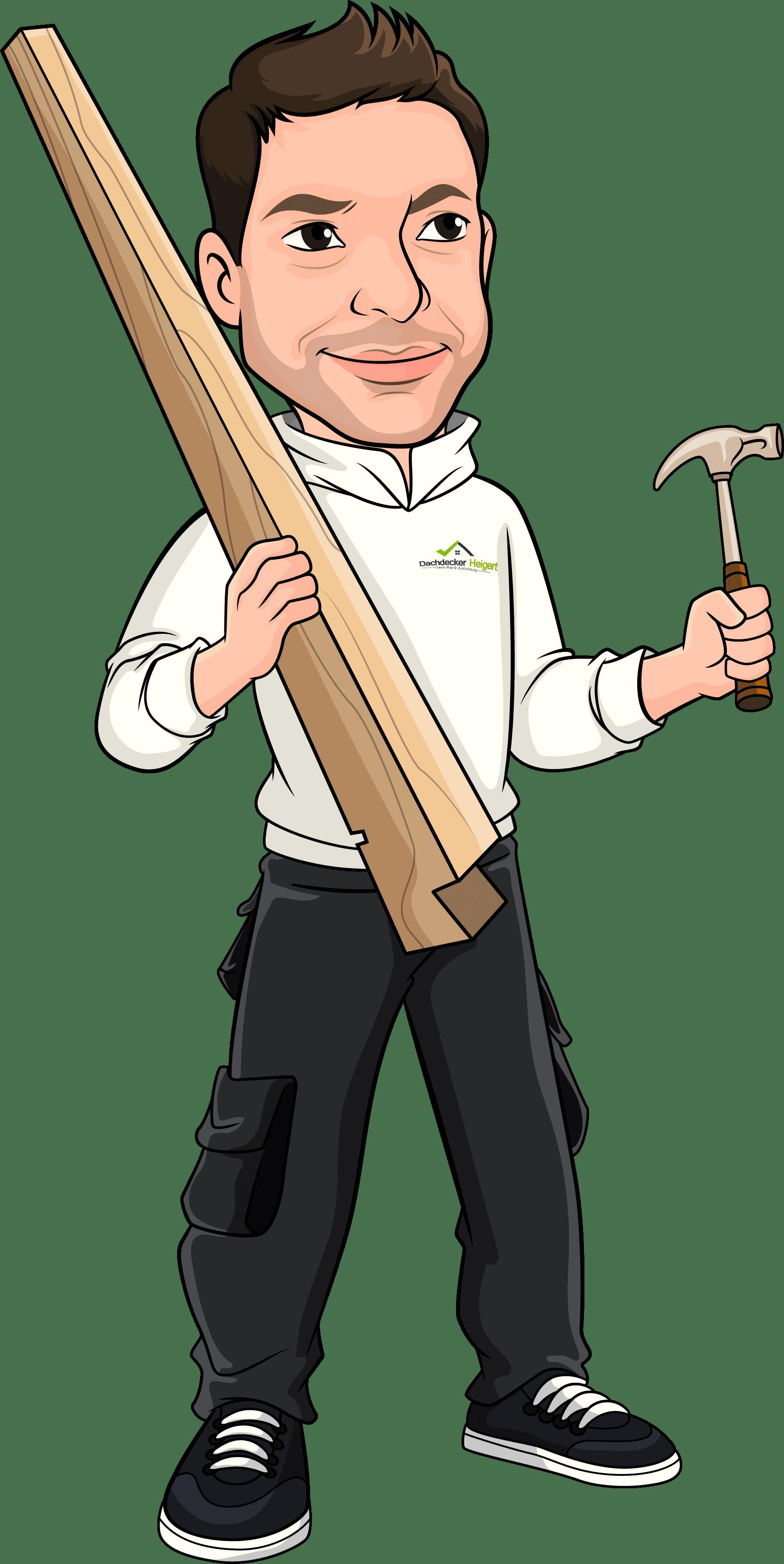 Figur mit Holzbalken